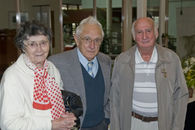 Ruth and Jim Rae, with Len Hutchings